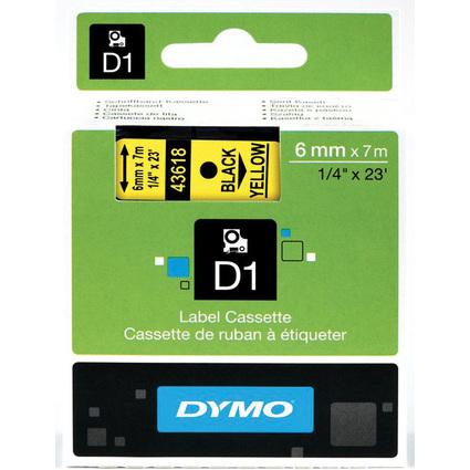 DYMO D1 Schriftbandkassette schwarz/gelb, 6 mm x 7 m