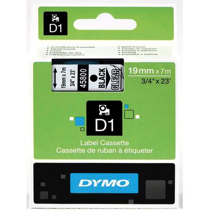 DYMO D1 Schriftbandkassette schwarz/transparent, 19 mm x 7 m