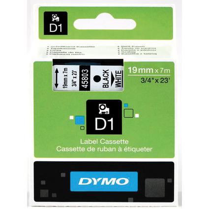 DYMO D1 Schriftbandkassette schwarz auf weiß  19 mm/7,0 m