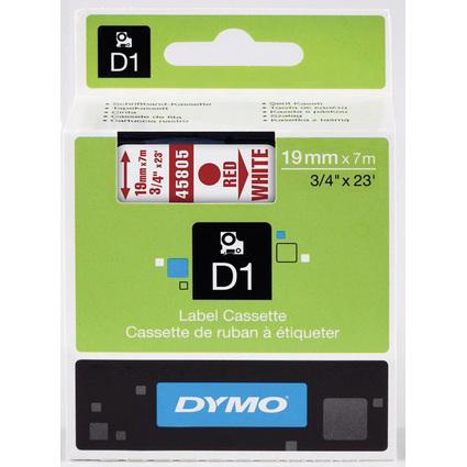 DYMO D1 Schriftbandkassette rot/weiß, 19 mm x 7 m