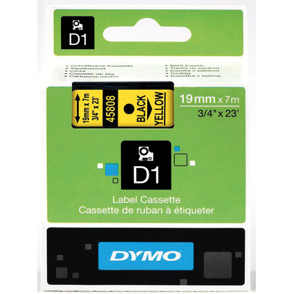 DYMO D1 Schriftbandkassette schwarz/gelb, 19 mm x 7 m