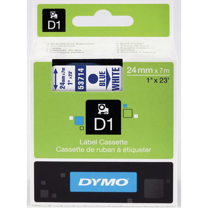 DYMO D1 Schriftbandkassette blau auf weiß, 24 mm/7,0 m