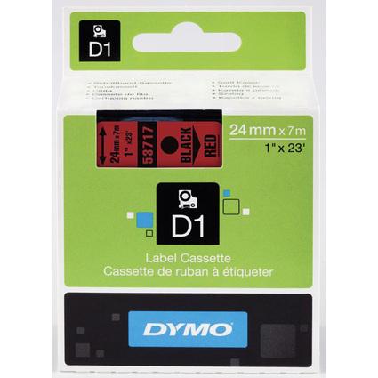 DYMO D1 Schriftbandkassette schwarz auf rot, 24 mm/7,0 m