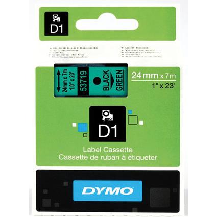 DYMO D1 Schriftbandkassette schwarz auf grün, 24 mm/7,0 m