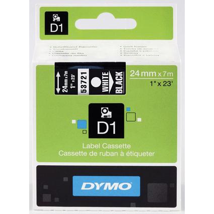 DYMO D1 Schriftbandkassette weiß auf schwarz, 24 mm/7,0 m