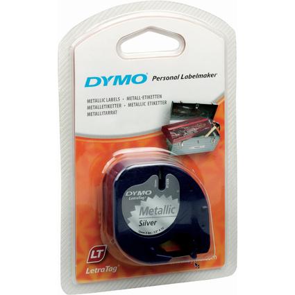 DYMO LetraTag Etiketten-Band 12 mm x 4 m, Metallic, silber