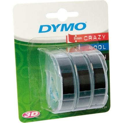 DYMO Prägeband 3D, 9 mm breit, 3 m lang, schwarz, glänzend