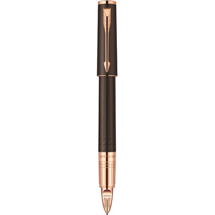 PARKER 5th Ingenuity, Brown Rubber Pink Gold Trim (Slim)