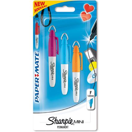Sharpie Permanent-Marker Mini, 4er Blisterkarte, blau, pink,