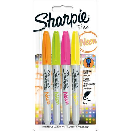 Sharpie Neon Permanent-Marker, 4er Blister