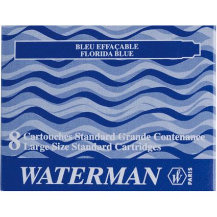 WATERMAN Standard-Großraum-Tintenpatronen, blau, löschbar