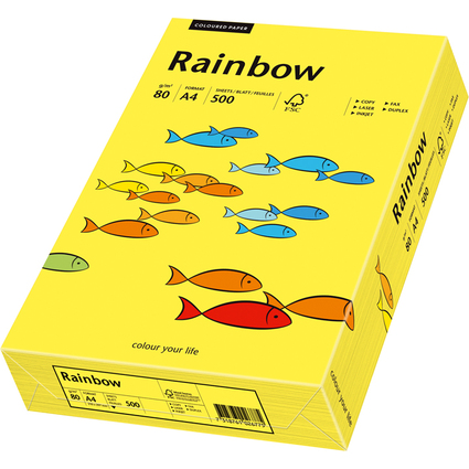 PAPYRUS Multifunktionspapier Rainbow, A4, 80 g/qm,mittelgelb
