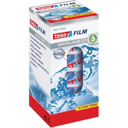tesa Film, kristall-klar, 6-er Pack, 19 mm x 33 m