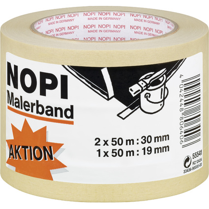 NOPI Maler Krepp Papierabdeckband, 3er Aktions-Turm, beige