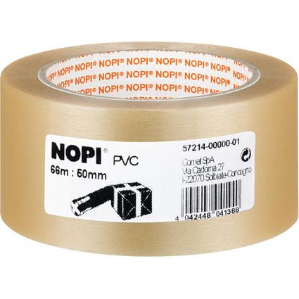 NOPI Verpackungsklebeband aus PVC, 50 mm x 66 m, transparent