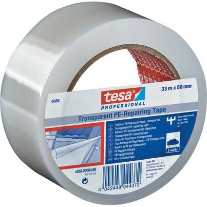 tesa Folienband 4668 MDPE, 50 mm x 33 m, transparent