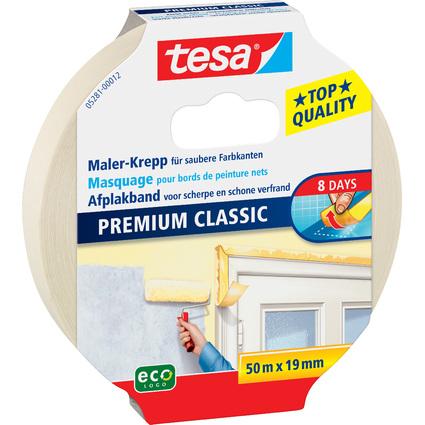 tesa Maler Krepp Premium Classic Abdeckband, 19 mm x 50 m