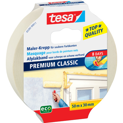 tesa Maler Krepp Premium Classic Abdeckband, 30 mm x 50 m