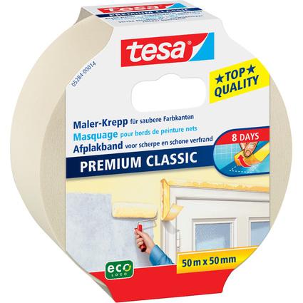 tesa Maler Krepp Premium Classic Abdeckband, 50 mm x 50 m