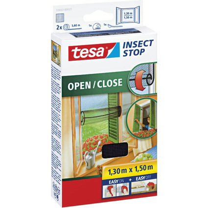 tesa Fliegengitter für Fenster OPEN/CLOSE, 1,30 m x 1,5 m