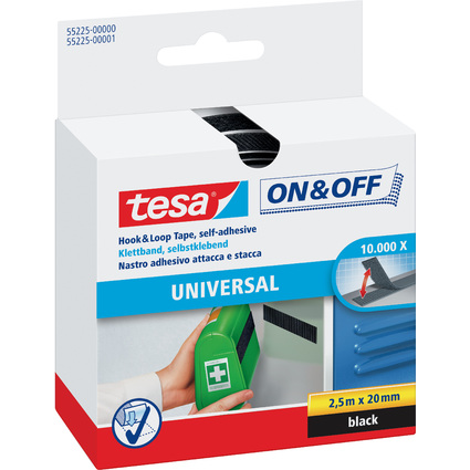 tesa On & Off Klettband, 20 mm x 2,5 m, schwarz