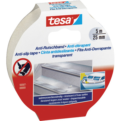 tesa Anti-Rutschband, 25 mm x 5,0 m, transparent
