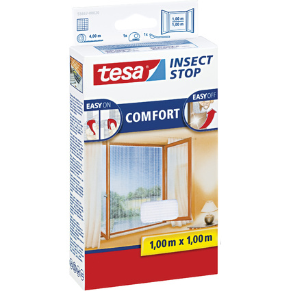 tesa Fliegengitter COMFORT für Fenster, 1 m x 1 m, weiß