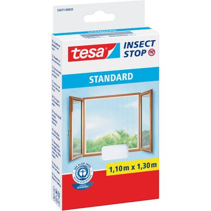tesa Fliegengitter STANDARD für Fenster, 1,10 m x 1,30 m