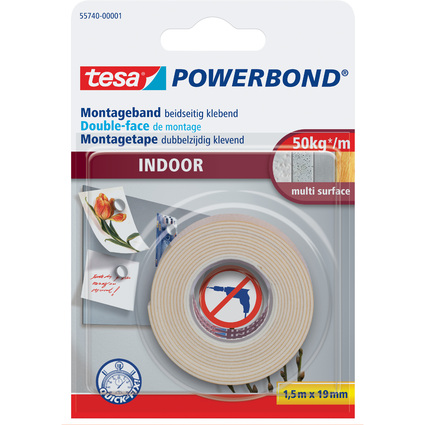 tesa Powerbond Montageband INDOOR, 19 mm x 1,5 m