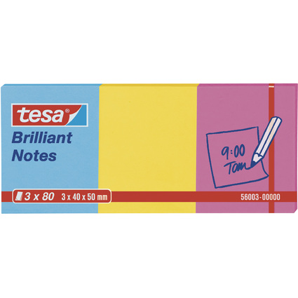 tesa Brillant Notes Haftnotizen, 40 x 50 mm, 3-farbig