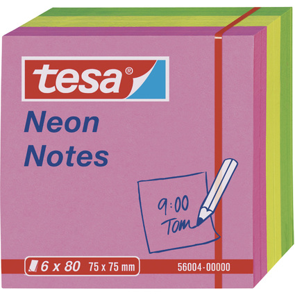 tesa Neon Notes Haftnotizen, 75 x 75 mm, 3-farbig