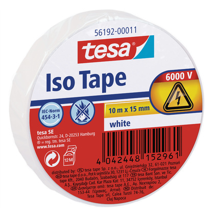 tesa Isolierband ISO TAPE, 15 mm x 10 m, weiß