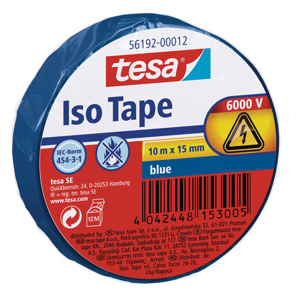 tesa Isolierband ISO TAPE, 15 mm x 10 m, blau