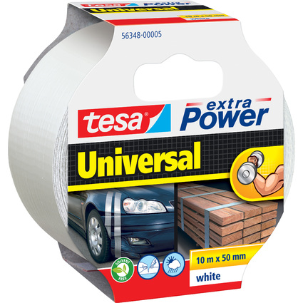 tesa Folienband extra Power Universal, 50 mm x 10 m, weiß