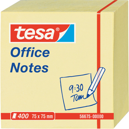 tesa Office Notes Haftnotiz Würfel, 75 x 75 mm, gelb