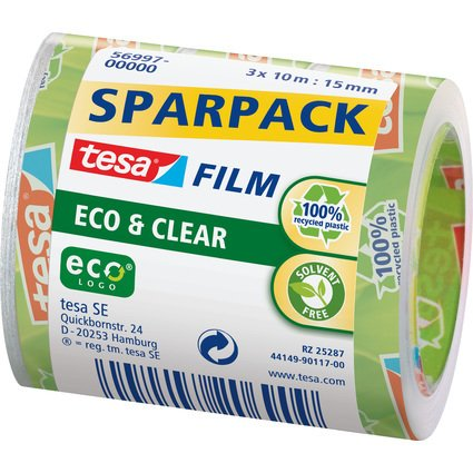 tesa Film Eco & Clear SPARPACK, transparent, 15 mm x 10 m