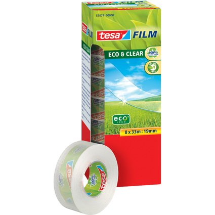 tesa Film Eco & Clear SPARPACK, transparent, 19 mm x 33 m