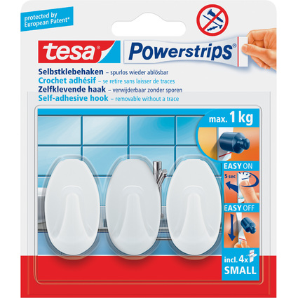 tesa Powerstrips Haken SMALL Oval, weiß