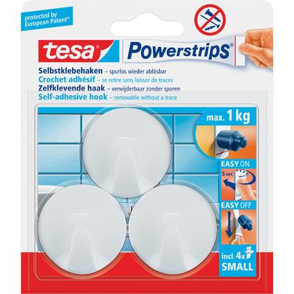 tesa Powerstrips Haken SMALL Rund, weiß