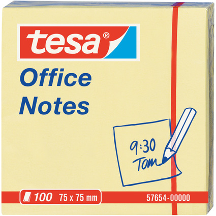 tesa Office Notes Haftnotizen, 75 x 75 mm, gelb