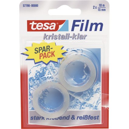 tesa Film, kristall-klar, 2-er Pack, Blister, 15 mm x 10 m