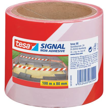 tesa Signal Absperrband, nicht klebend, rot / weiß