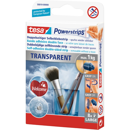 tesa Powerstrips TRANSPARENT, Haltekraft: max. 1,0 kg