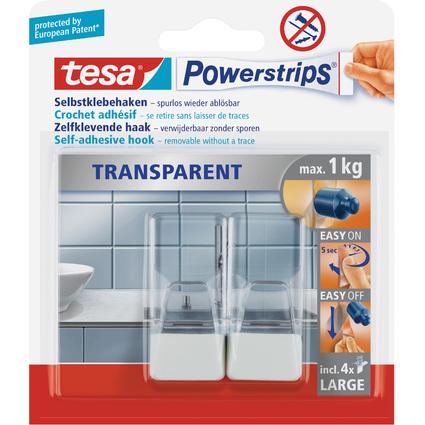tesa Powerstrips Haken LARGE Transparent, transparent / weiß