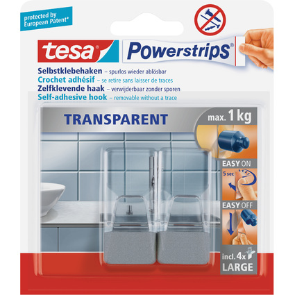 tesa Powerstrips Haken LARGE Transparent, transparent /chrom