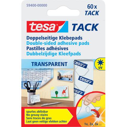 tesa TACK Klebepads, transparent, beidseitig klebend