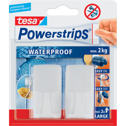 "tesa Powerstrips Haken ""WAVE"" WATERPROOF, weiß"