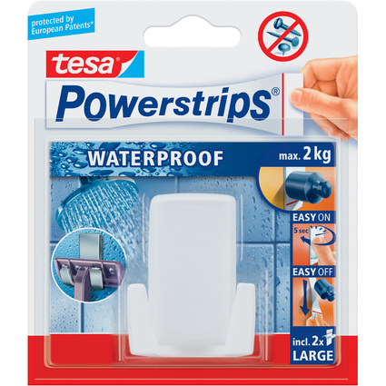 "tesa Powerstrips Rasierhalter ""WAVE"" WATERPROOF, weiß"