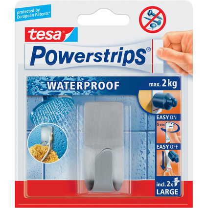 tesa Powerstrips Haken ZOOM WATERPROOF, aus Metall, silber