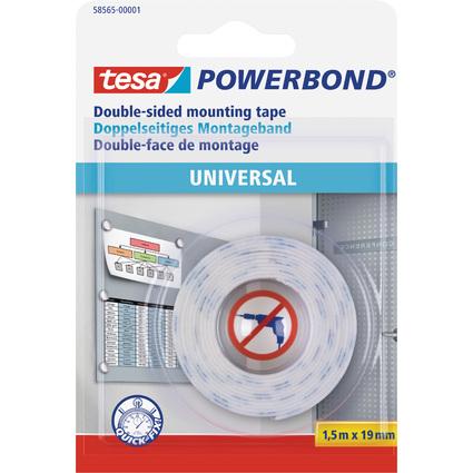 tesa Powerbond Montageband Universal, 19 mm x 1,5 m, weiß